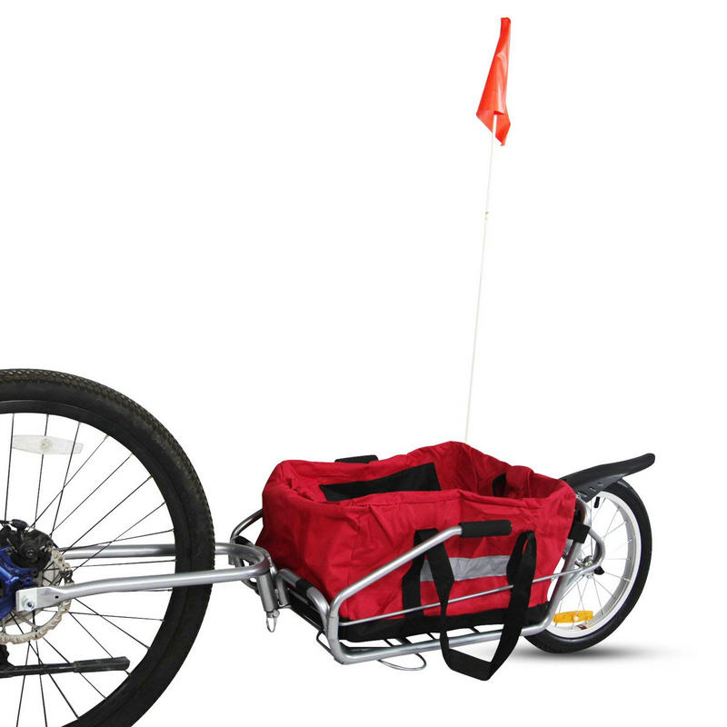 2 In 1 Bicycle Trailer With Free Bag, 16inch Air Wheel Mountain Bike Trailer Can Load 66LB, Single Wheel Trailer&Stroller