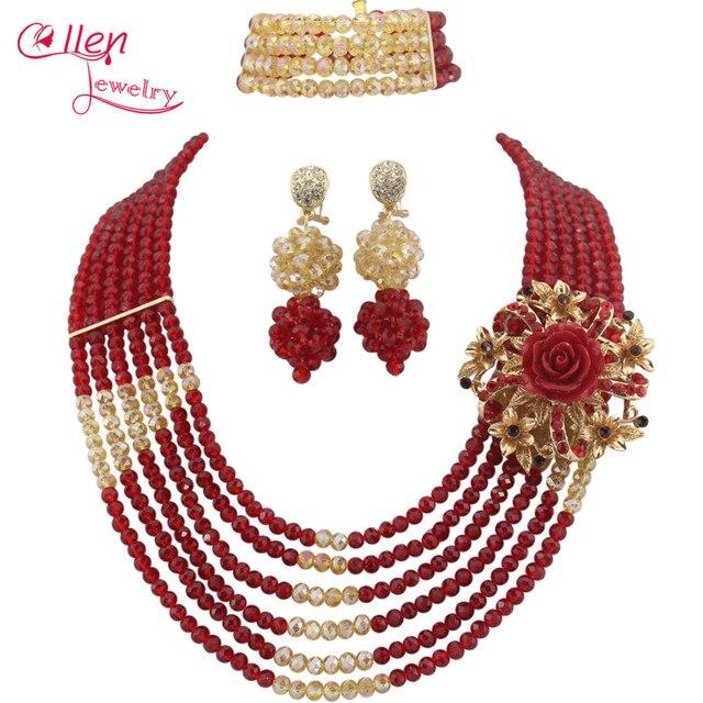 date de sortie: 8f61a 0f6b2 € 13.99 30% de réduction|Incroyable perles africaines ensemble de bijoux  perles de cristal collier ensemble nigérian mariage ensemble de bijoux de  ...