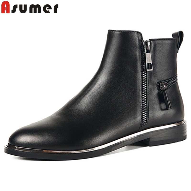 ASUMER black fashion autumn winter boots round toe low heel ankle boots for women zip comfortable genuine leather boots стоимость