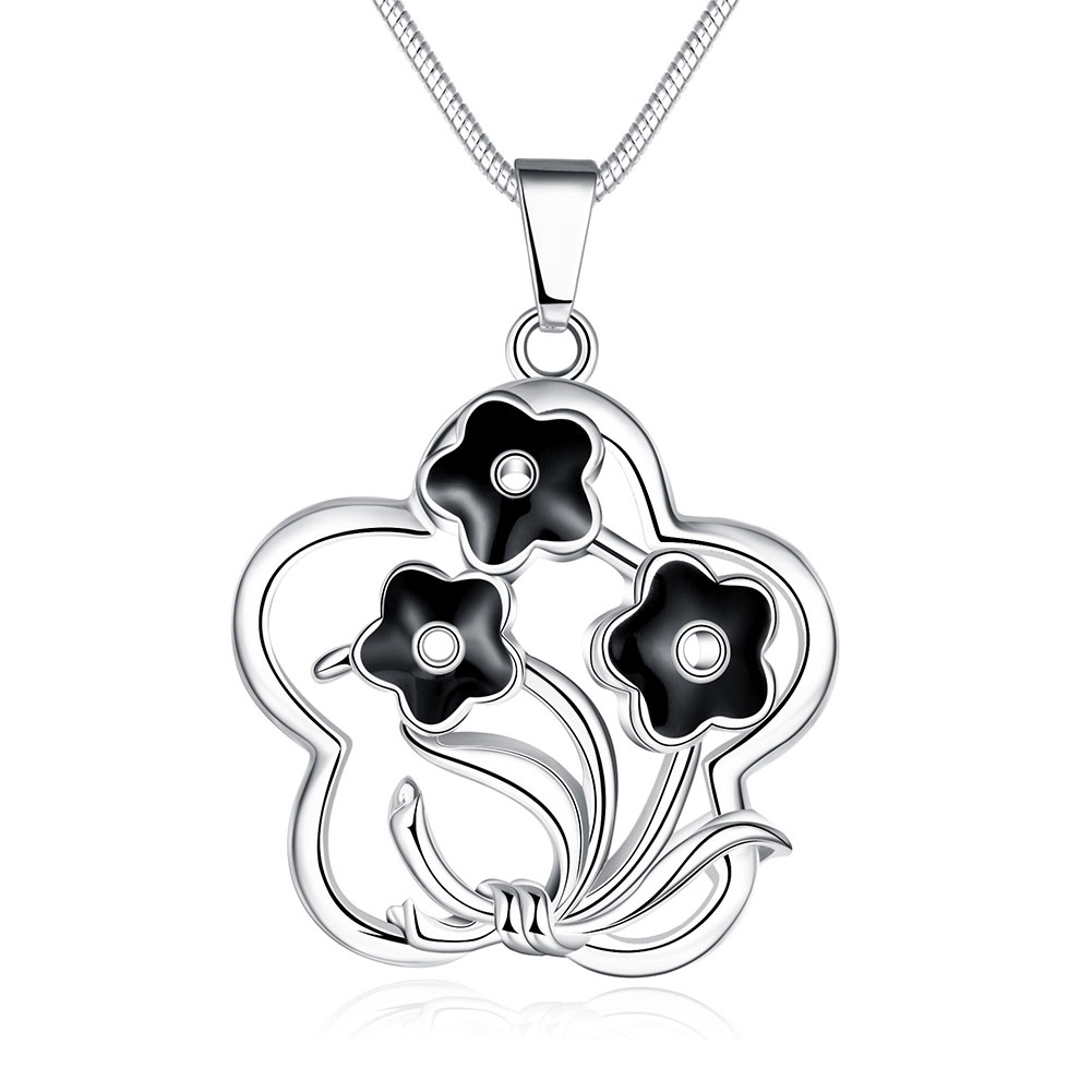 JEXXI Nice Lover's Gift Jewelry Real Solid 925 Sterling Silver Flower Pendant Necklace Black Enamel Artwork Chokers Necklace