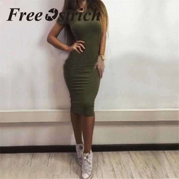 Free Ostrich 2019 Women Fashion Sexy Solid Short Sleeve  Slim Dress Sheath Cotton Short Sleeve Sexy Fashion Drees For Women