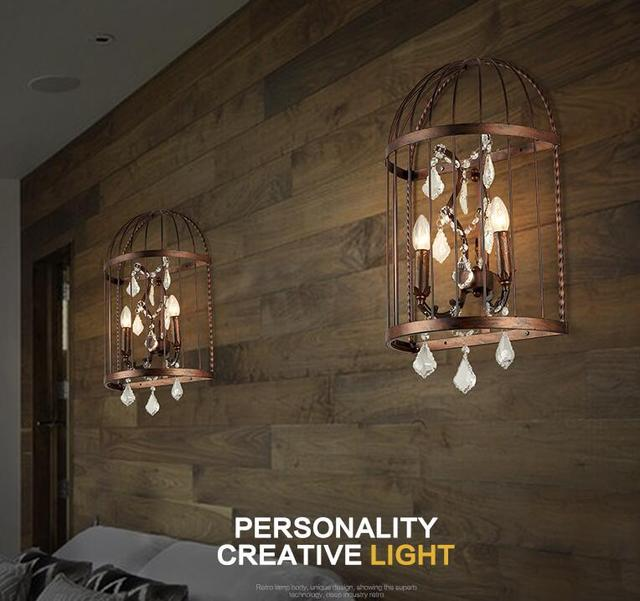 loft industrial iron cage. American Village Countryside LOFT Industrial Bedroom Bedside Wall Lamp Creative Personality Iron Cage Crystal Light Loft L