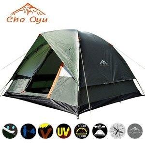Туристическая двухслойная палатка на 3-4 человек, непродуваемая водонепроницаемая, защита от УФ излучения, для рыбалки, пешего туризма, пляж...