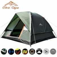 3-4 Person Camping Tent Dual Layer Windbreak Waterproof Anti UV Tourist Tents for Fishing Hiking Beach Travel 3 Season Tent