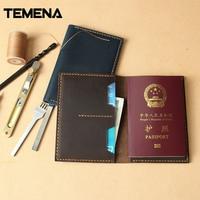 Temena Genuine Leather Mens Passport Holder Wallets Unisex Cowhide Passport Cover Purse Brand Male Credit Id