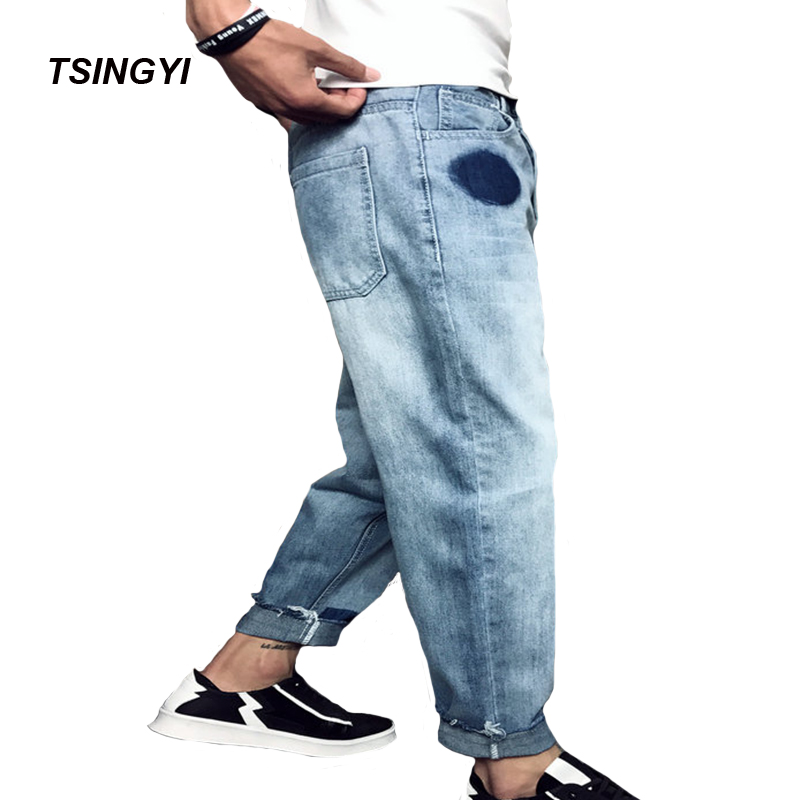 Tsingyi Japanese Style Do Old Contrast color Denim Jeans Men Distressed Washing Blue Harem Pants Homme Mens Jean Plus Size 28-42 denim
