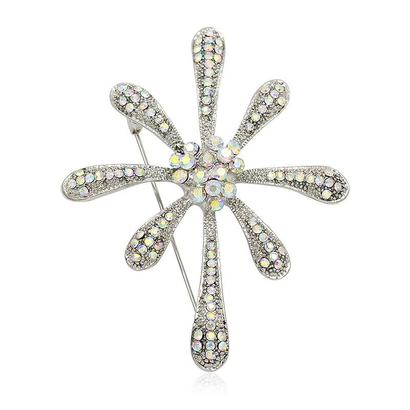 Factory Direct Sale AB Crystal Rhinestones Bejeweled Fashion Elegant Brooch Pins Jewelry for Women Dress