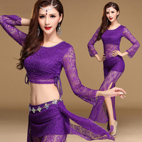 Lace Oriental Belly Dance Costume Set For Women Indian Bellydance Dancing Clothes Dancewear Cropped Tops Pants