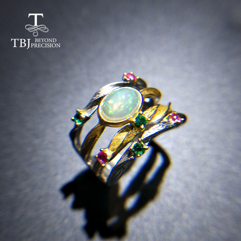 TBJ 2019 new design 100 natural ethopian opal ov6 8 gemstone ring in 925 sterling silver
