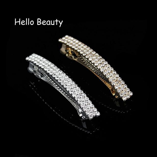 Korea Fashion Hair Jewelry Luxury Hair Accessories Silver Gold French Full Crystal  Rhinestone Barrette Hair Clip cca37a7d5f45