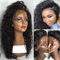Brasileira Onda Profunda Cheia Do Laço Perucas de Cabelo Humano Para A Mulher Preta Parte Dianteira do laço Perucas de Cabelo Humano Com o Cabelo Do Bebê Sem Cola Cheia Do Laço perucas