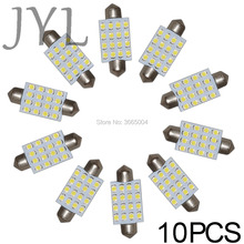 10Pcs 3528 41mm 16SMD Car Interior Dome Festoon LED Light Bulbs Lamp White DC24V 1.0W