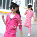 New 2017 Kid Girls Spring Sets Fashion Children Cotton Floral Coat+Pants 2Pcs Hooded Zipper Clothes Sleeves Active Clothing Hot