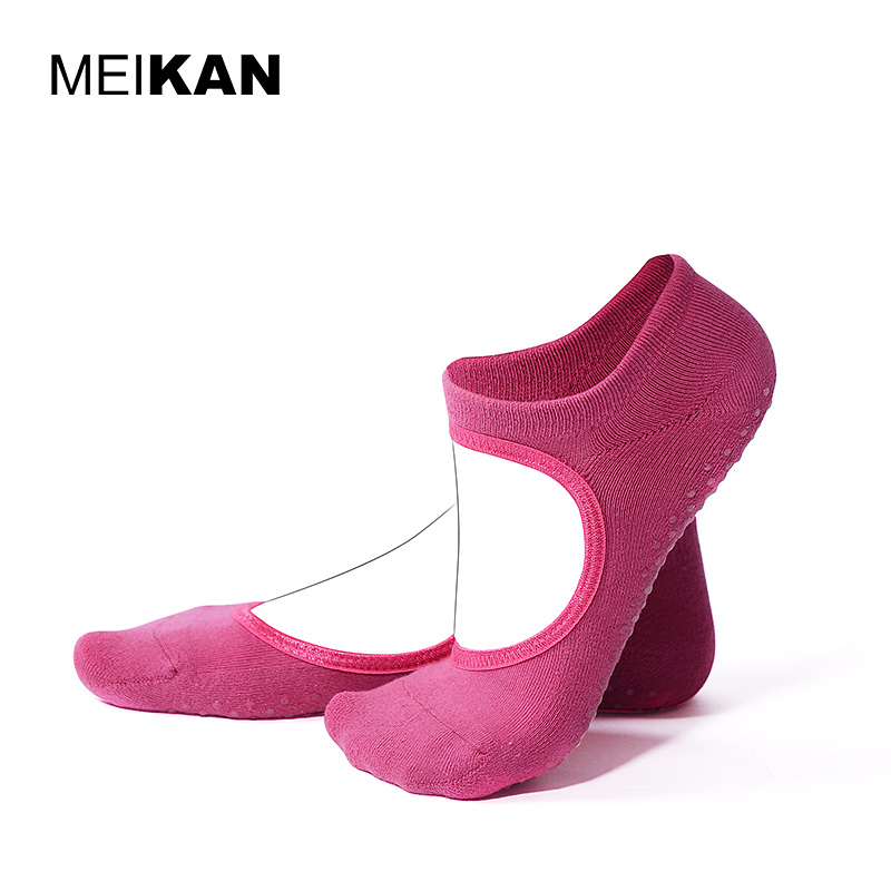 Terry Backless Yoga Socks Women Cotton Meias Pilates Socks Wholesale MEIKAN Sport Calcetines Silicone Non-slip Grip Yoga Socks