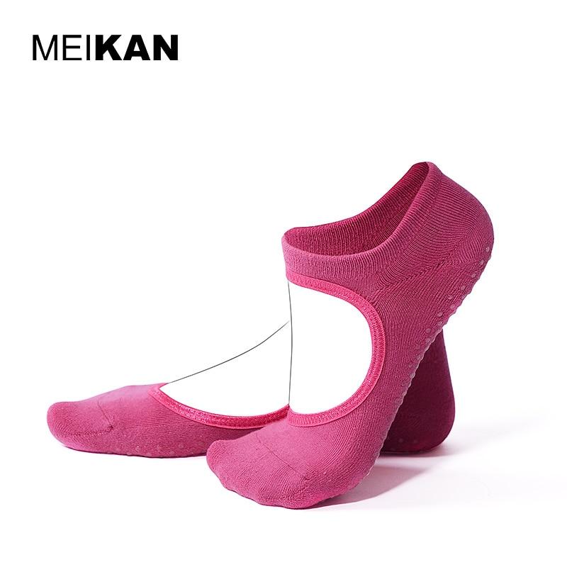 Terry Backless Yoga Socks Women Cotton Meias Pilates Socks Wholesale MEIKAN Sport Calcetines Silicone Non-slip Grip Yoga Socks