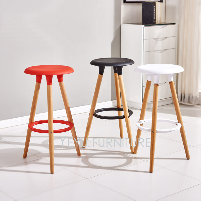 Minimalist Modern Design Plastic and Solid Wood Bar Stool ...