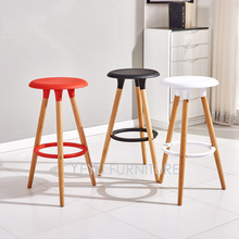 Minimalist Modern Design Plastic and Solid Wood Bar Stool Wooden Counter Stool Simple Design Bar Chair Living Room Furniture set(China)