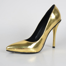 2015 Summer Sexy Style Gold Patent Leather Women's Stiletto  Heel Pointed Toe Shoes Cover High Thin heel  zapatos mujer Pumps