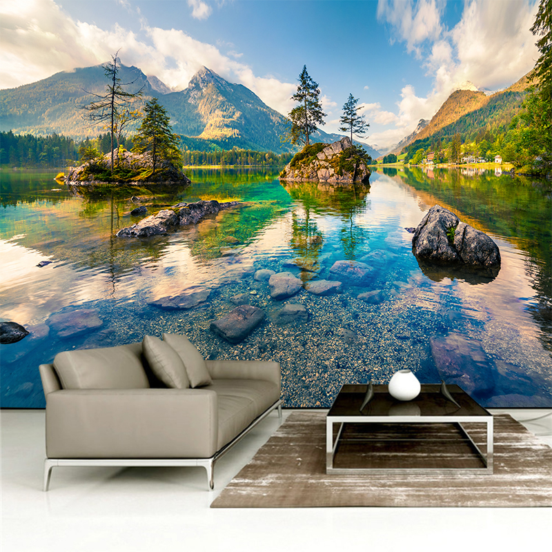Custom Any Size 3D Wall Mural Wallpapers Modern Fashion Mountain Alpine, Flowing Water, Wall Sticker YBZ064