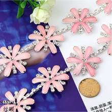 SINUAN Meter Rhinestone Sew-On Crystal Resin Flower Stones And Crystals For Crafts Multi-Colored Tape Rhinestone Decorations