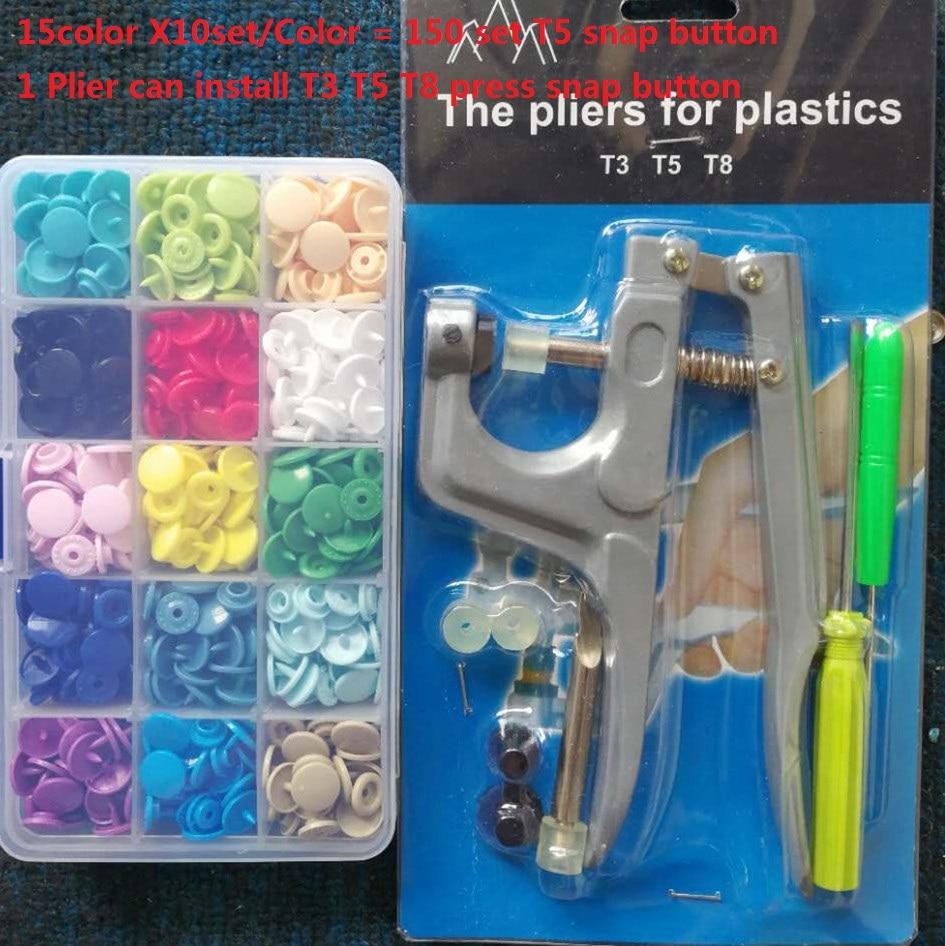Livraison Gratuite KAM Hualian Pression En Plastique Boutons + 1 pcs Outil Pince 12mm T5 Résine Kam Boutons de fermeture à pression pour Bébé Vêtements