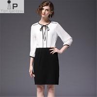 Woman dress 2018 Spring summer New plus size Splice Chiffon women dress bowknot fashion mini female dresses elegant 2128 vestido