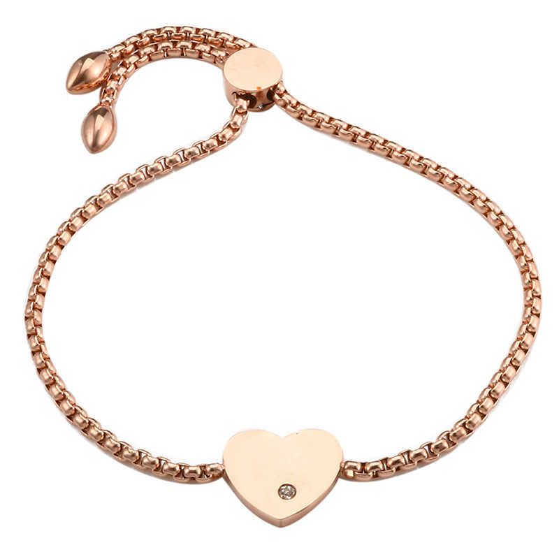 Simple Stainless Steel Adjustable Bracelet Female Rose Gold Color CZ Heart Shape Charm Bangle Bracelets for Women Party Gift