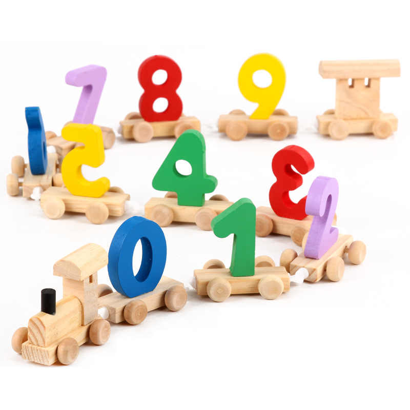 Newest Baby Montessori Soft Wood Train Figure Model Toy with Number Pattern 0~9 Blocks Educational kids Wooden Toy children gift