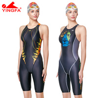 Yingfa professional competition swimsuit women girls one piece swimwear kids training swimwear racing knee swimsuit
