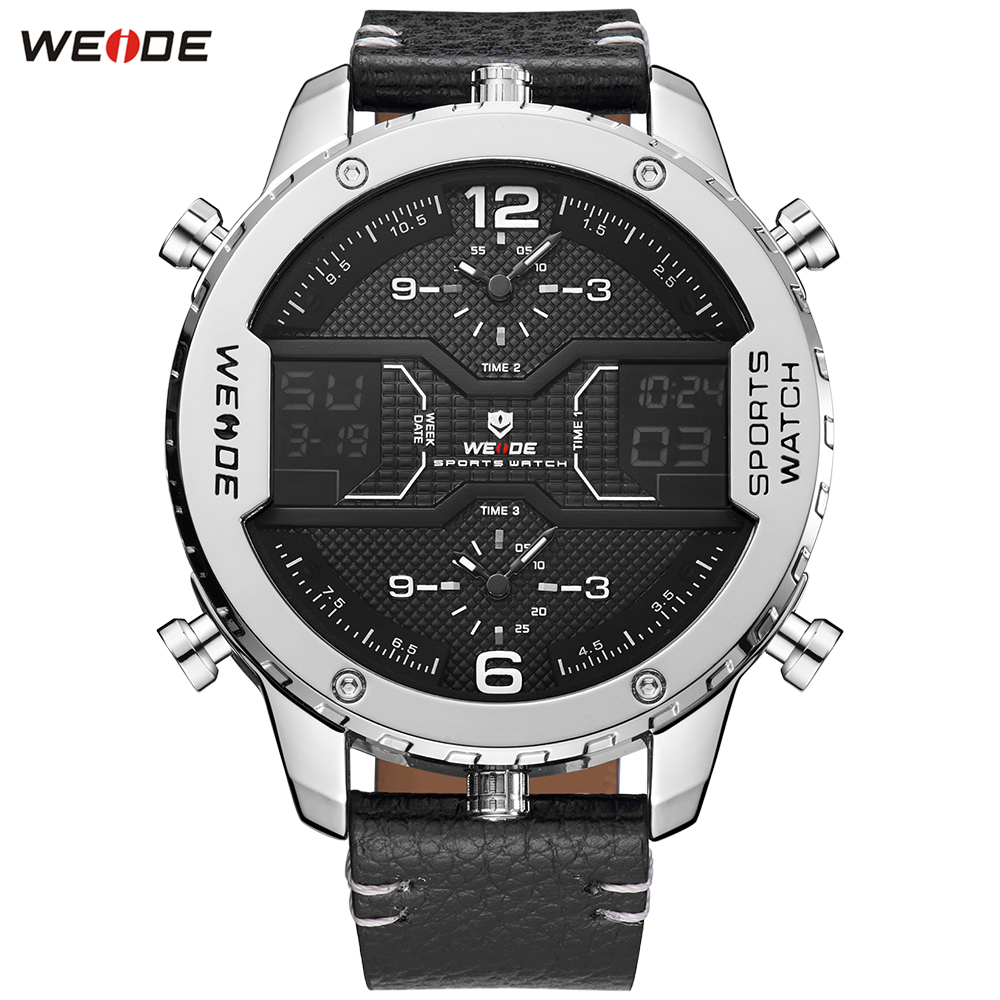 Fashion Brand WEIDE Alarm Week Digital Sport Watch Men Quartz Movement Waterproof Multiple Time Leather Band Wristwatch Relogios купить недорого в Москве
