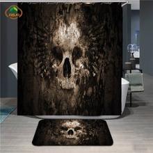 купить MSJO Halloween Shower Curtain Bath Vintage Waterproof Fabric Scary Rusty Rotten Skull Decor Bathroom Curtains Mat Set Drop Ship дешево