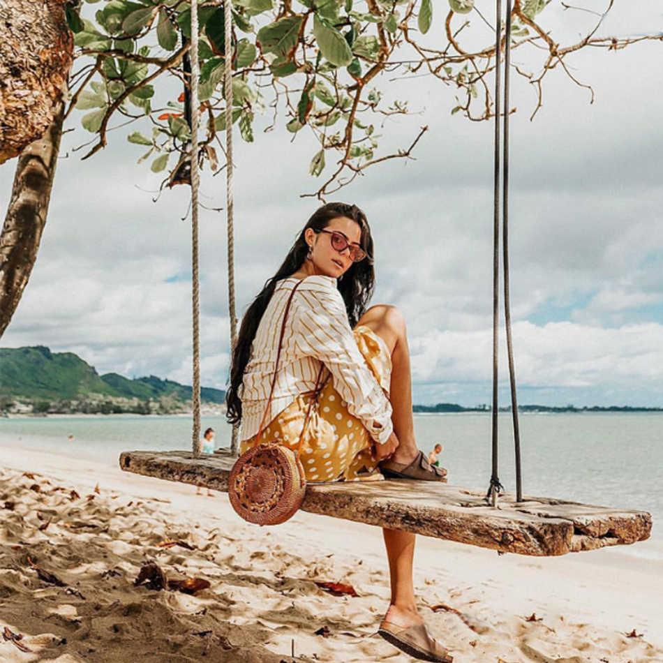 Солнечная пляжная круглая соломенная сумка ручной работы, тканая пляжная сумка через плечо, женская летняя плетеная Сумка из ротанга, круглая Богемская сумочка
