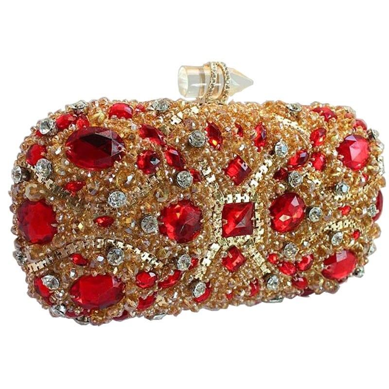 ФОТО New studded jeweled clutch Wedding Bridal purse Luxury Diamond Evening Bags Lady Gold clutch Women Crystal Party Bags Hot XA768B
