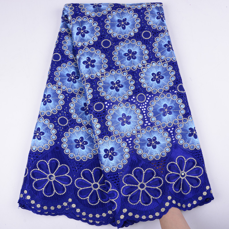 African Dry Lace Fabric Swiss Voile With Stones Swiss Cotton Lace High Quality 2019 Royal Blue