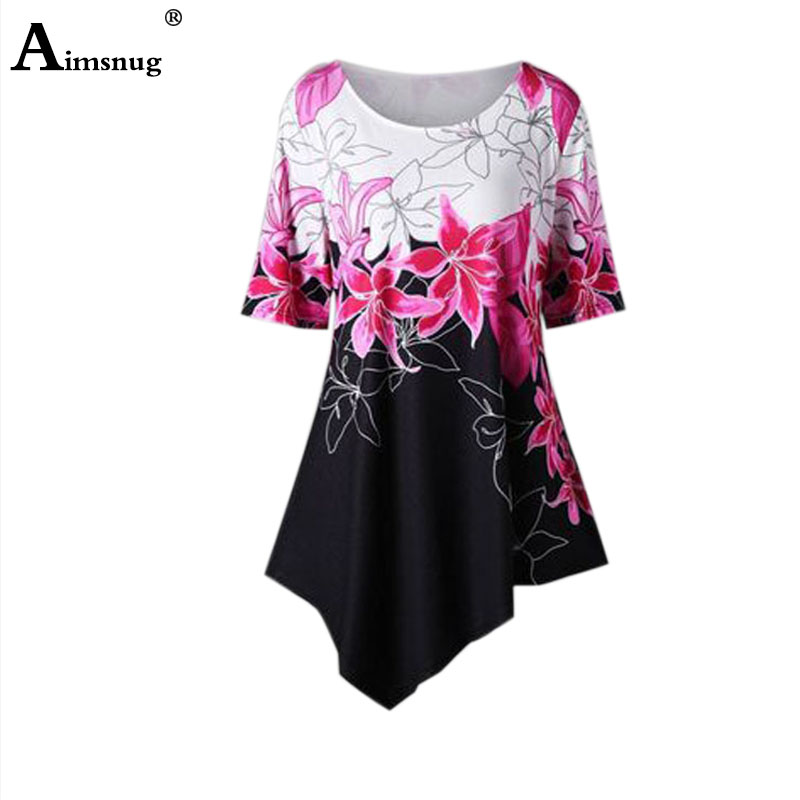 Plus Size 4xl 5xl Boho Pink O-neck Flower Print Summer Women Dress Short Sleeve Lady Dresses Irregular Casual Female The Dress