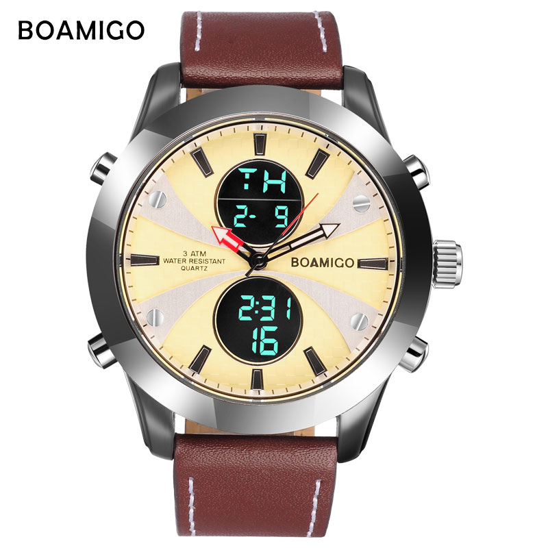 BOAMIGO Fashion Brand Sport Men Watches Multifunction LED Digital Display Male Watch Waterproof Leather Strap Wristwatches Clock
