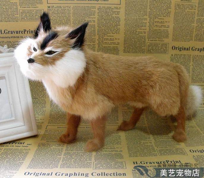 big simulation yellow fox toy handicraft lifelike walking fox doll gift about 35x15x23cm