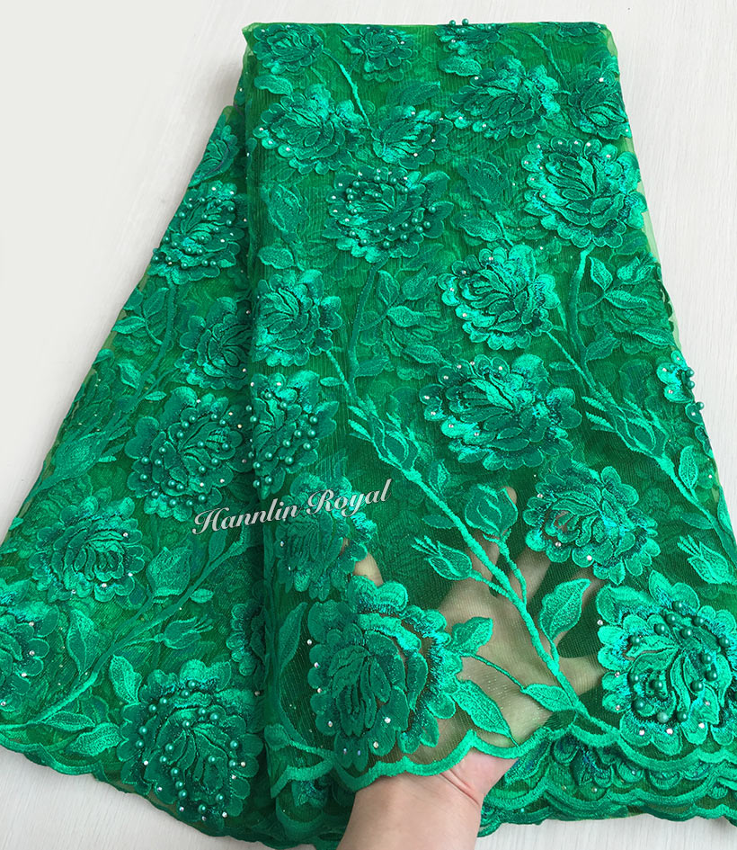 Plain Emerald Green Big Floral Beaded Net Lace Afrench