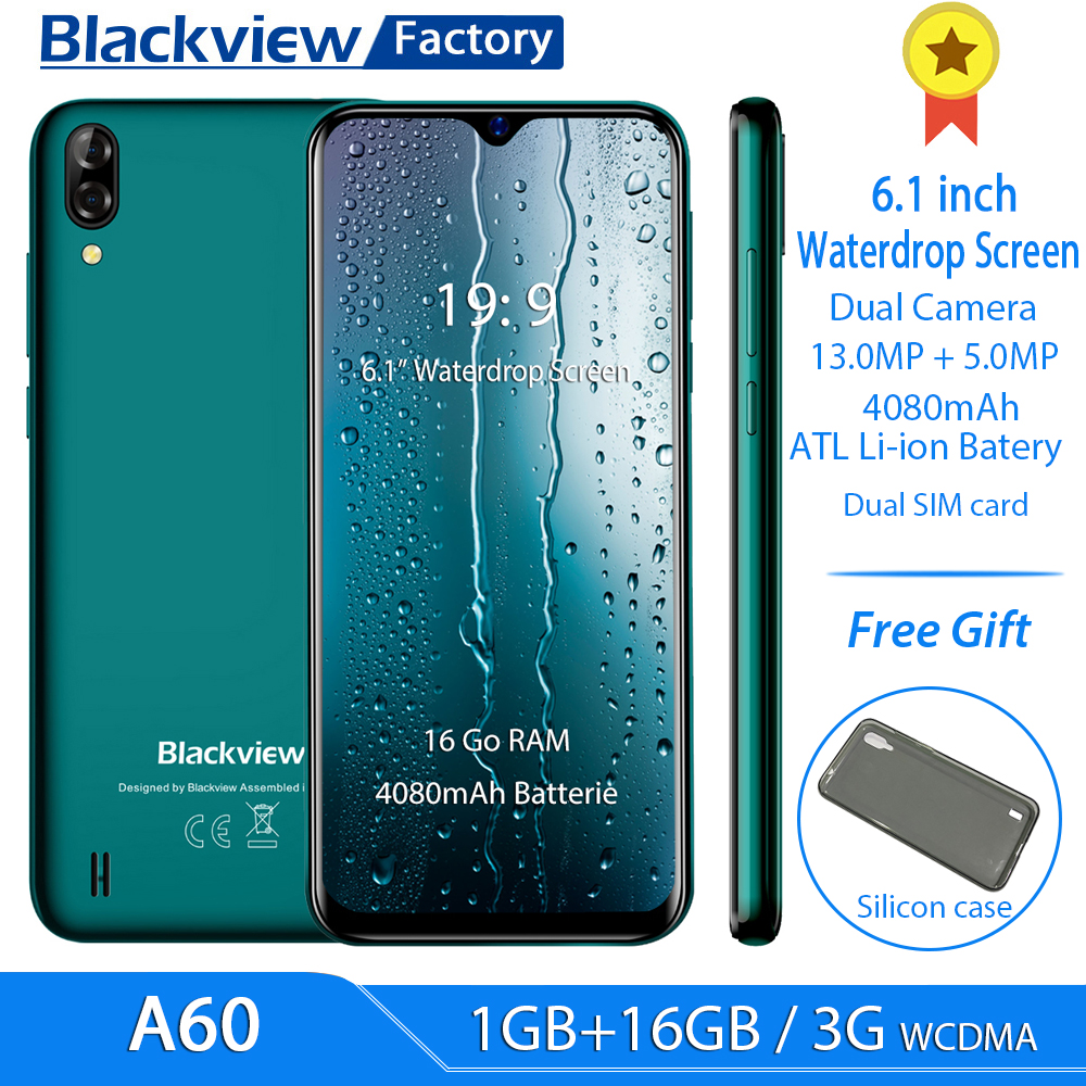 Blackview A60 6 1 19 2 9 Waterdrop Screen Cellphone 13MP Rear Camera 1GB 16GB smartphone