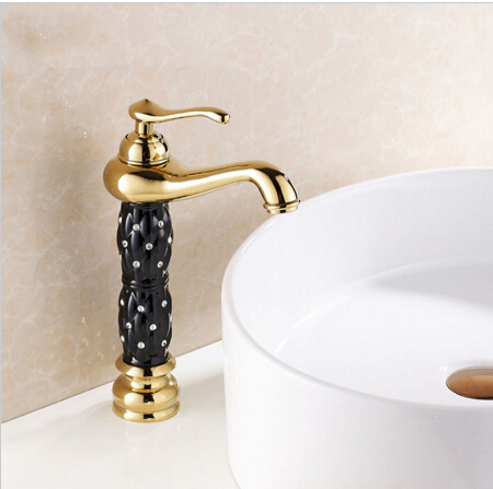 ФОТО New Luxury Fashion Solid Brass High Deck Mounted Basin Faucet Sink Faucet Bathroom Faucet Single Handle