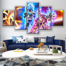 Home Decoration Paintings 5 Panel Wall Prints Dragon Ball Goku Poster Hotel Modular Bedside Canvas Pictures Artwork