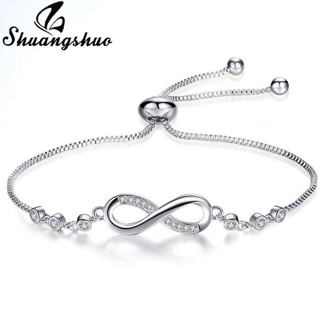 Shuangshuo 2018 Chain Link Infinity Bracelets & Bangles Femme Jewelry Women Brac