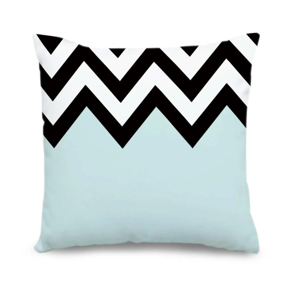 custom geometric cushion cover light blue white black chevron canvas pillow cases decorative throw pillow covers home decor