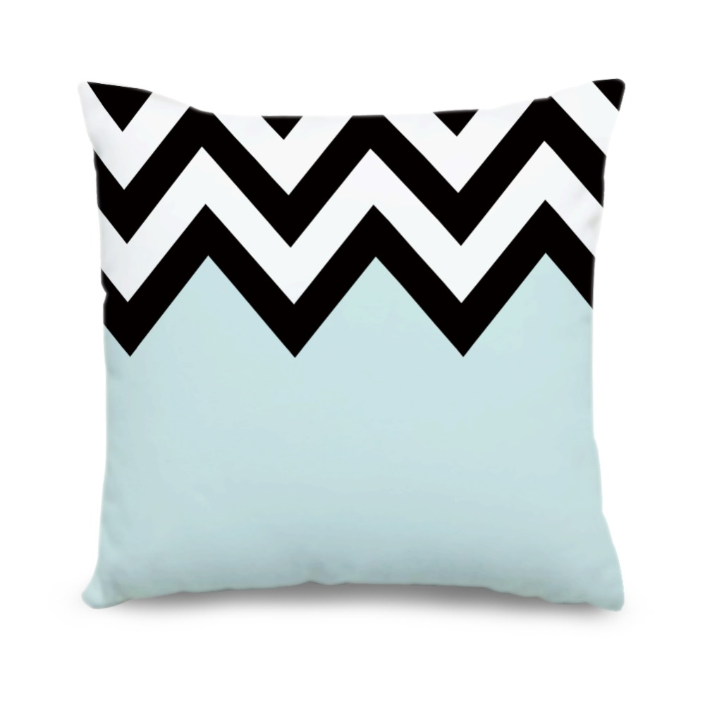 compare prices on blue and white geometric throw pillow online  - custom geometric cushion cover light blue white black chevron canvas pillowcases decorative throw pillow covers