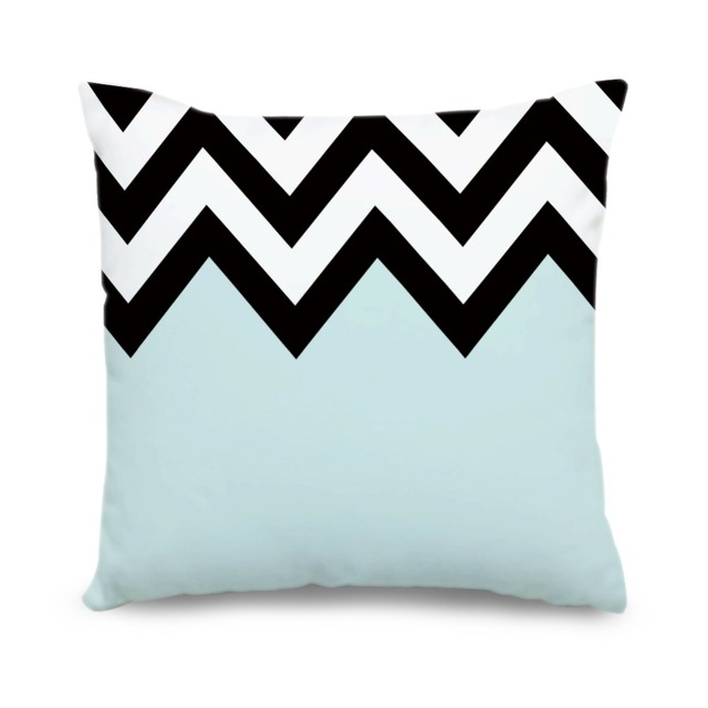 20284443cda3a4 R$ 43.2 18% de desconto|Personalizado Geométrica Capa de Almofada Azul  Claro Preto Branco Chevron Lona Fronhas Lance Decorativa Pillow Covers Home  ...