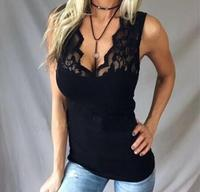 Women T Shirts Sexy Deep V Neck Tee Shirts Lace Fitted Sleeveless Tee Top Vest LJ9495R