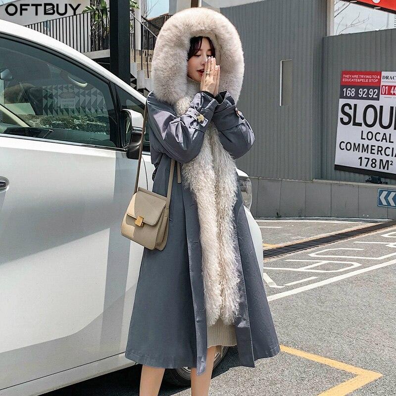 OFTBUY Long Parka Real Fur Coat Winter Jacket Women Natural Fox Fur Collar Hood Rex Rabbit Fur Lining Side Mongolia Sheep Fur