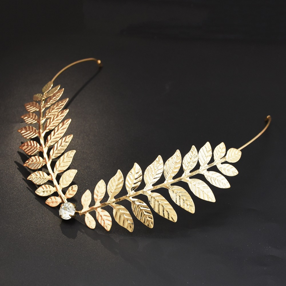 Gold Metal Leaf V Back Hold Headband