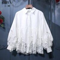 [Gutu] 2018 ربيع جديد الأبيض رفض طوق فانوس خياطة الرباط الجوف خارج فضفاض الكورية أزياء النساء قميص FA65200