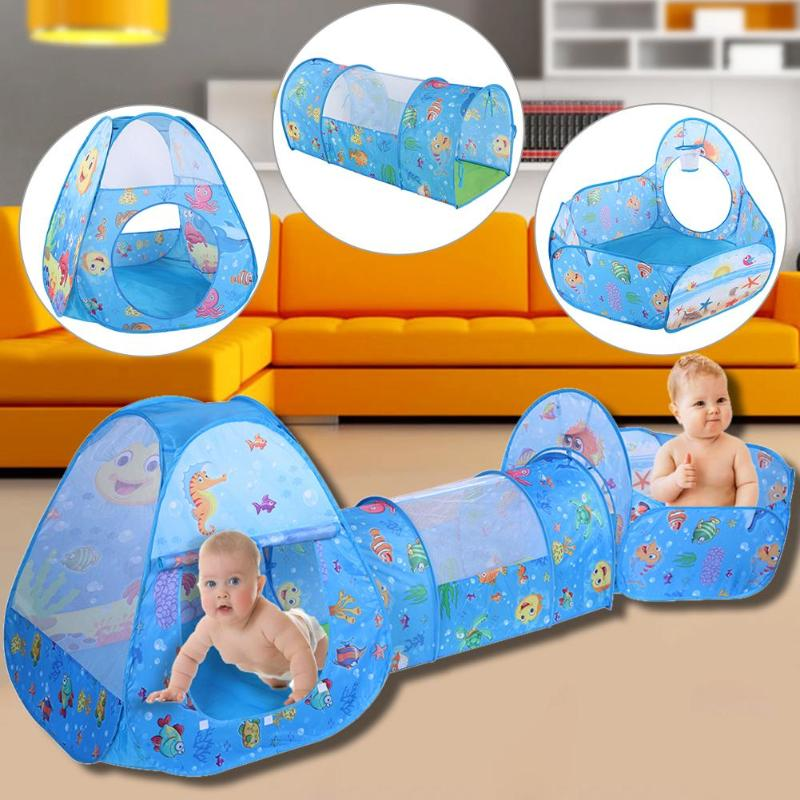 Portable Pool-Tube-Teepee Baby Play Tent House Foldable 3pc Pop-up Crawling Tunnel Ocean Ball Playing Tent Kids Secret House